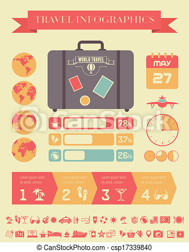 EPS Vector of Travel Infographic Template. - Flat Infographic ...