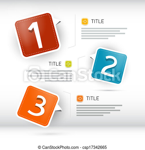One, two, three, vector paper progress steps for tutorial, infographics  - csp17342665