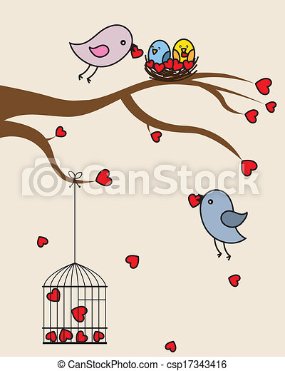 Card san Valentin. birds in love  - csp17343416