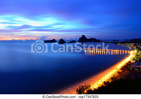 Sunrise view of Ao Manao bay in Prachuap Khiri Khan, Thailand - csp17347633