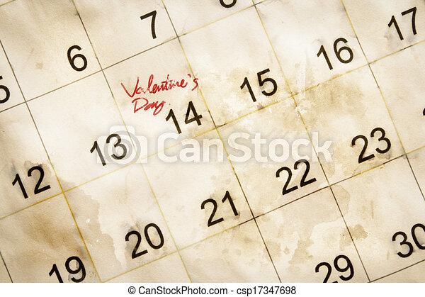 valentine day marked on vintage calendar - csp17347698