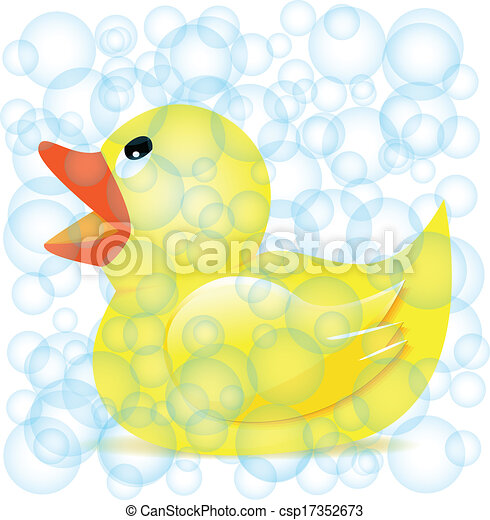 Rubber Duck Illustration Rubber Duck in Soap Bubbles