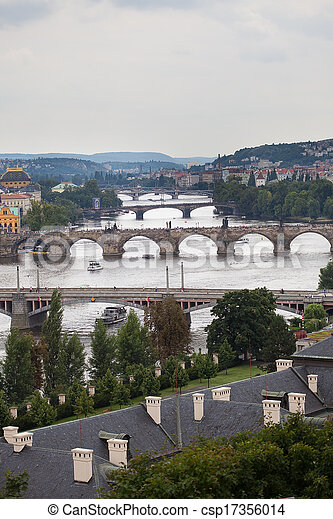 background of the bridges of Prague - csp17356014