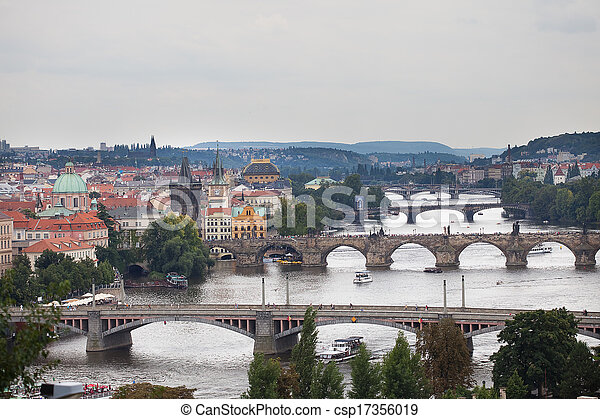background of the bridges of Prague - csp17356019