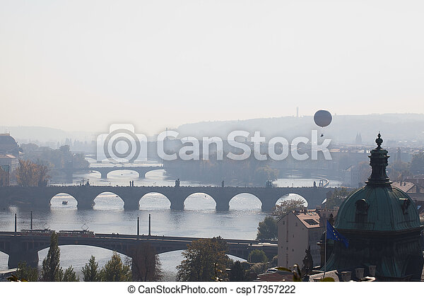 background of the bridges of Prague - csp17357222