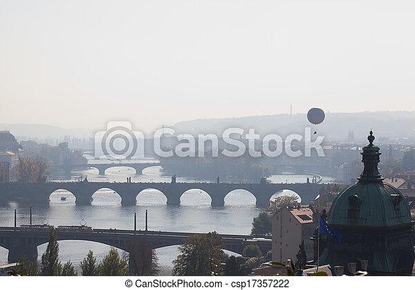 background of the bridges of Prague - csp17357222