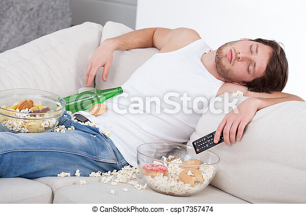 Full and drunk man - csp17357474