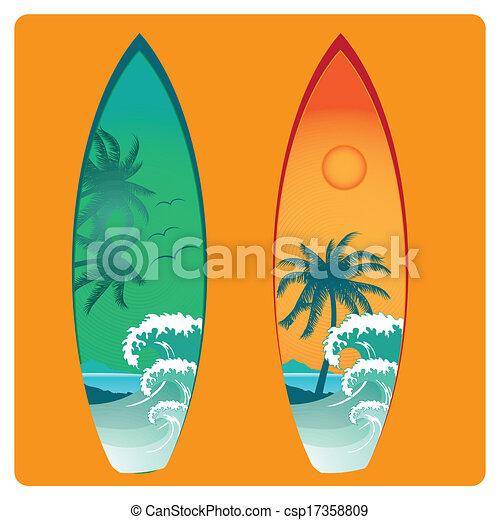 Clipart vecteur de planche surf deux planche surf - Planche de couleur ...