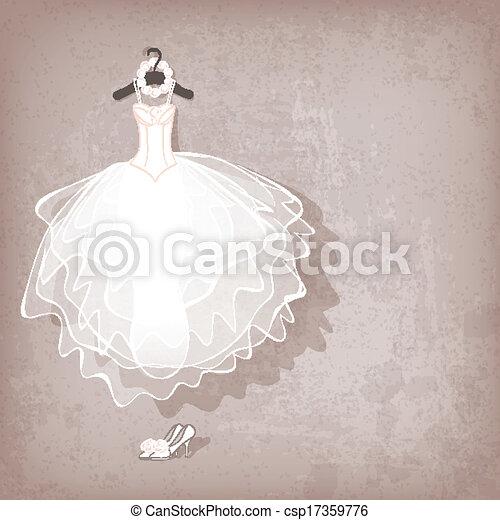 wedding dress on grungy background - csp17359776