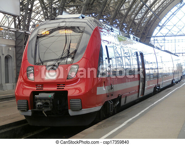 Train in Dresden main railway station, Germany - csp17359840