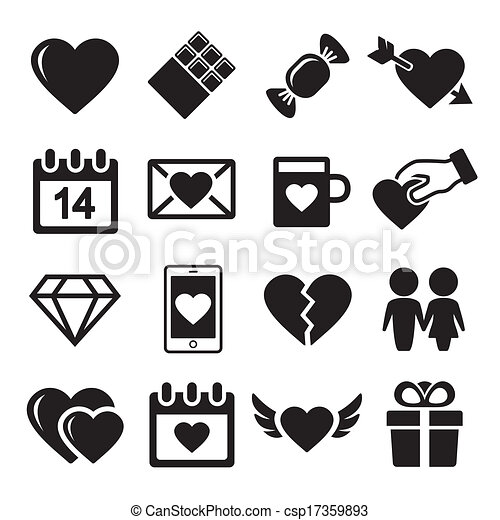Valentine day love icons set. - csp17359893