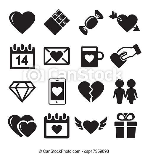 Valentine day love icons set. - csp17359893