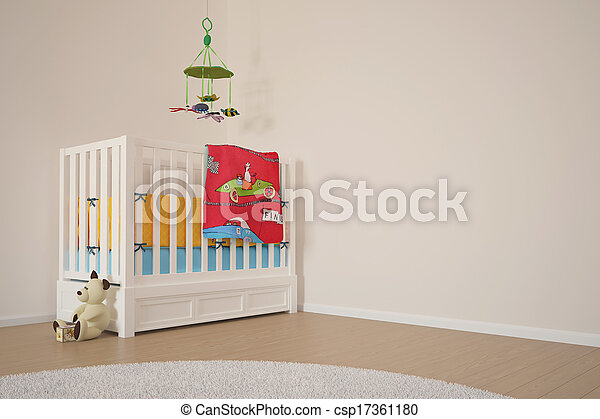 spielen, Kinder, Zimmer, Bett - csp17361180