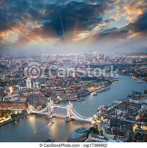 London. Aerial view of Tower Bridge at dusk with beautiful city skyline. - csp17366662