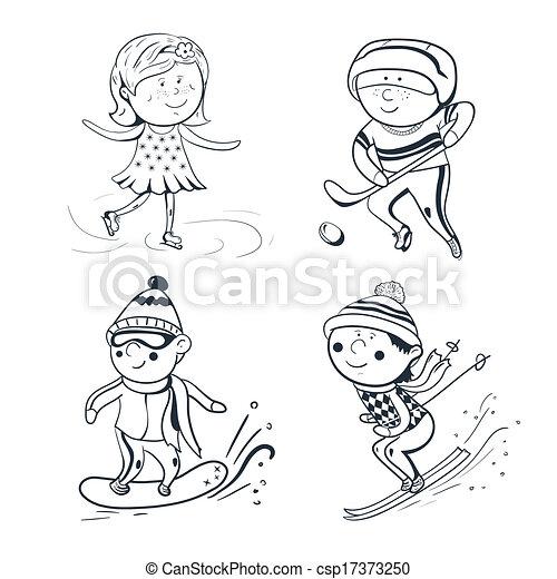 Clipart Vector of Winter sports, vector sketch sportsmen - Winter ...