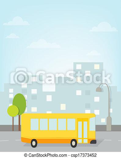 bus rides around town. vector image - csp17373452