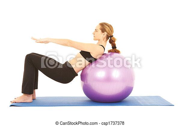 série,  Pilates, exercício - csp1737378