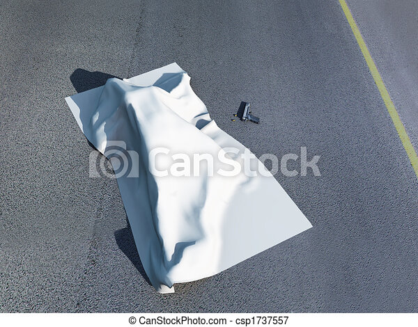 Dead body under a homicide cloth - csp1737557