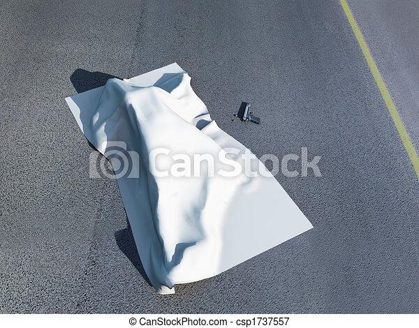 Dead body under a homicide cloth - csp1737557