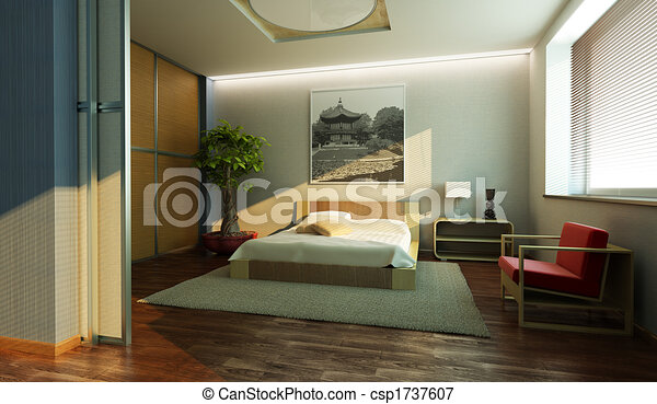 japan style bedroom interior - csp1737607