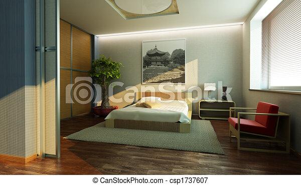 japan style bedroom interior - csp1737607