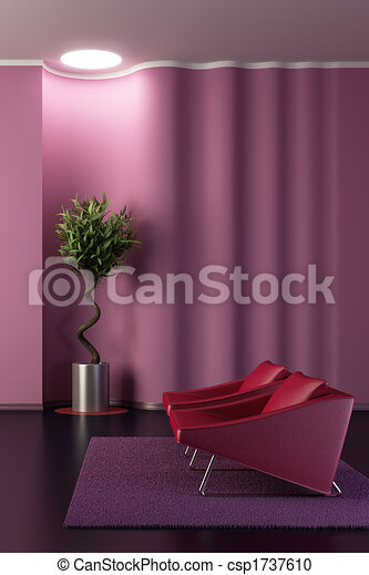 design of the lounge room with wavy wall - csp1737610