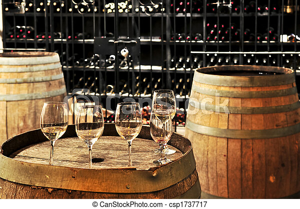 Wine  glasses and barrels - csp1737717