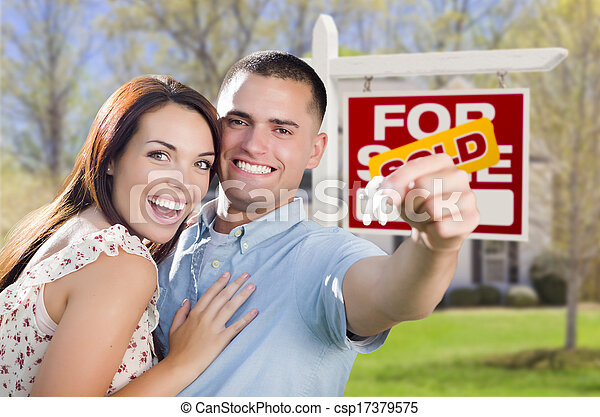 Military Couple In Front of Home, House Keys and Sign - csp17379575