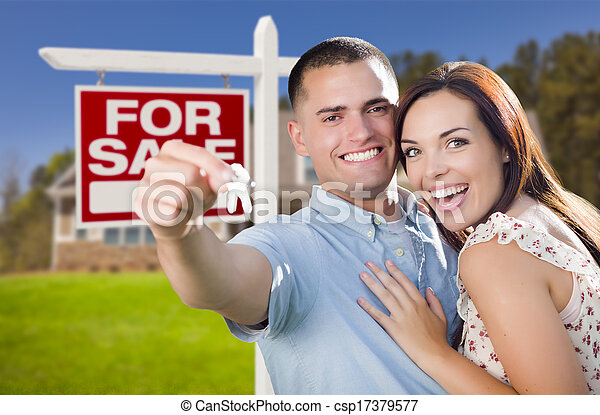 Military Couple In Front of Home, House Keys and Sign - csp17379577