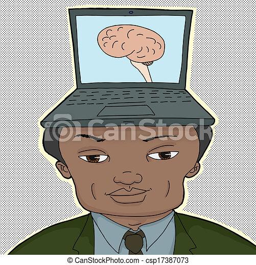 Computer Brain Icon Man With Computer Brain