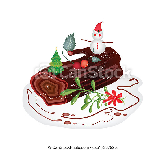Christmas Cake Pictures Clip Art : Vector Illustration of Traditional Christmas Cake or Yule ...