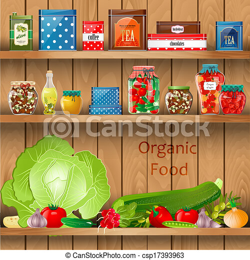 Clip Art Vector Of Delicious And Healthy Food On Wooden