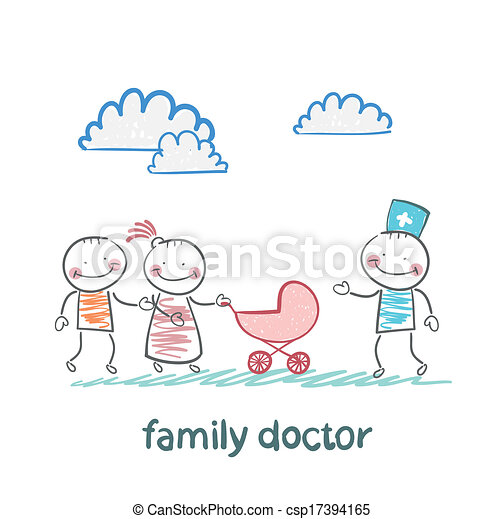 Clip Art Vector of family doctor treats the father, mother ...