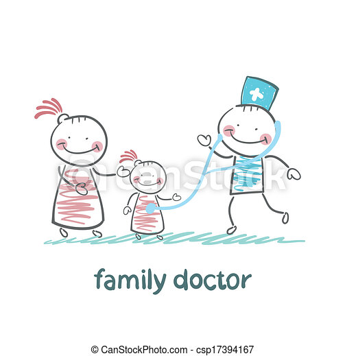 Clip Art Vector of family doctor treats her mother with a ...