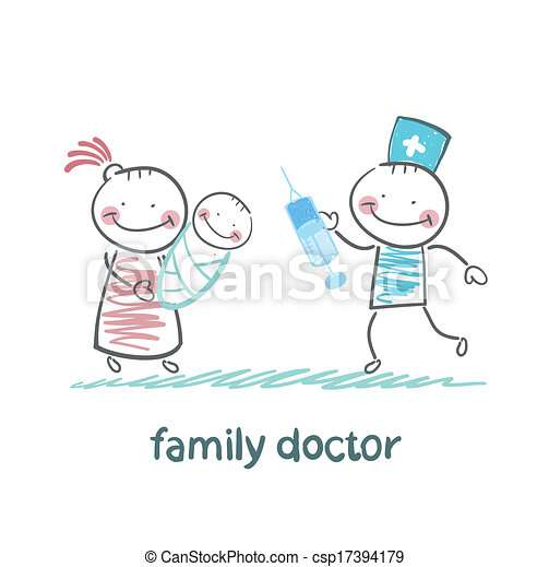 Vectors Illustration of family doctor treats her mother ...
