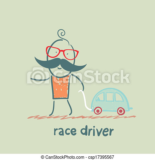driver  race car with a toy car - csp17395567
