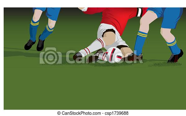 Football, soccer tackle close up - csp1739688