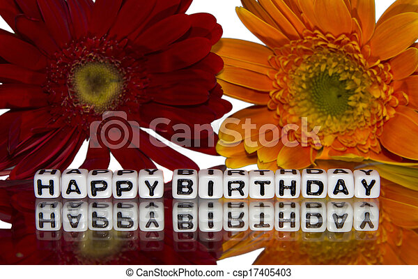 Happy birthday with red and yellow flowers - csp17405403