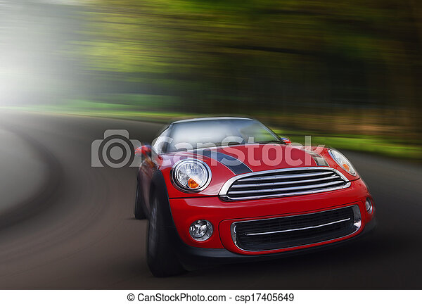 red passenger car driving on asphalt road in curve ways of mountain high ways use for transport and long journey scene - csp17405649