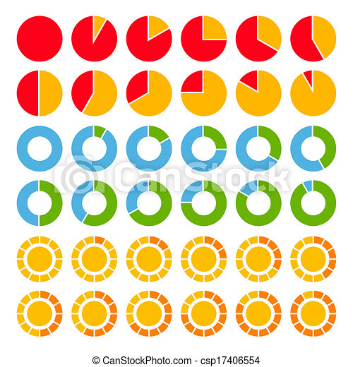 Set of brightly colored pie charts. - csp17406554