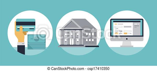 Online banking flat icons - csp17410350
