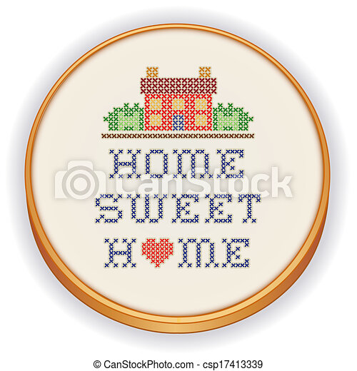 Embroidery, Home Sweet Home  - csp17413339