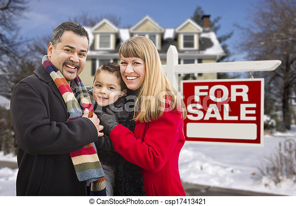 Mixed Race Family, Home, For Sale Real Estate Sign - csp17413421