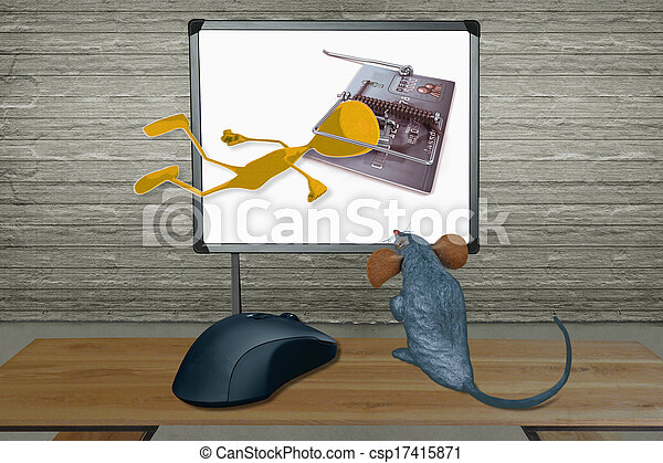 Rat watching Computer Screen with mouse, Concept