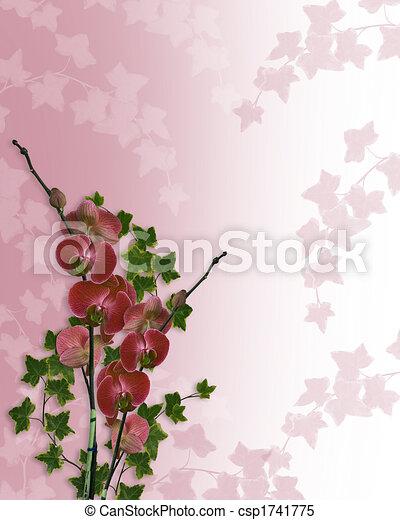 Orchids Floral Border Wedding  - csp1741775