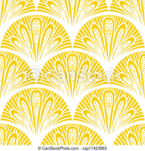 Art deco vector geometric pattern in bright yellow - csp17423863