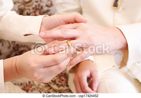 's, sposo, su, sposa, dito, mettere, matrimonio, chiudere, anello - csp17424452