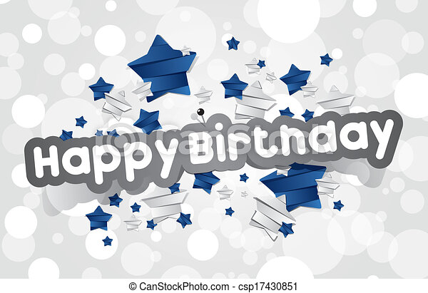Clipart Vector of Happy Birthday Card With Blue and Silver ...
