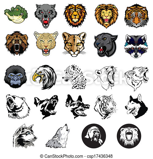 Illustrated set of wild animals and dogs - csp17436348