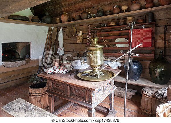 Picture Of Interior Of The Kitchen Room In Russian